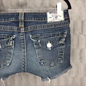 True Religion Flap Pocket Cutoff Denim Jean Shorts